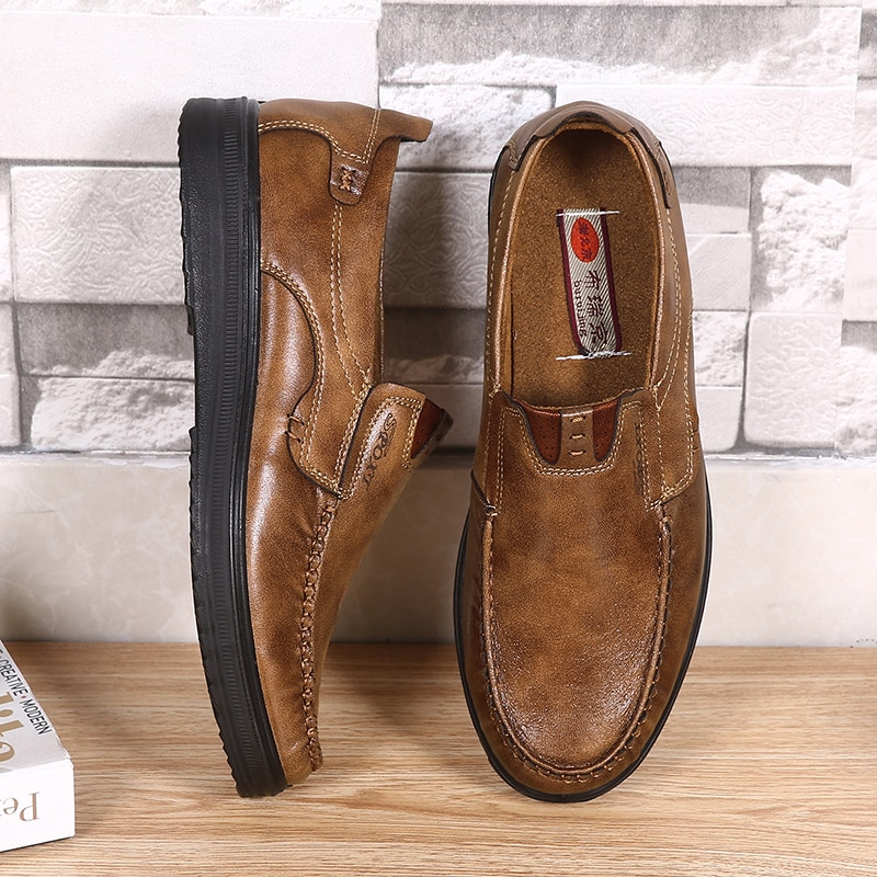 bole fall new 36 47 big size handmade causal leather men shoes fashion design slip on comfort men driving loafers shoes men flat 2020 Leather Men Casual Shoes Fashion Men Loafers Breathable Walking Shoes Lightweight Slip-on Driving Footwear Big Size 38-48