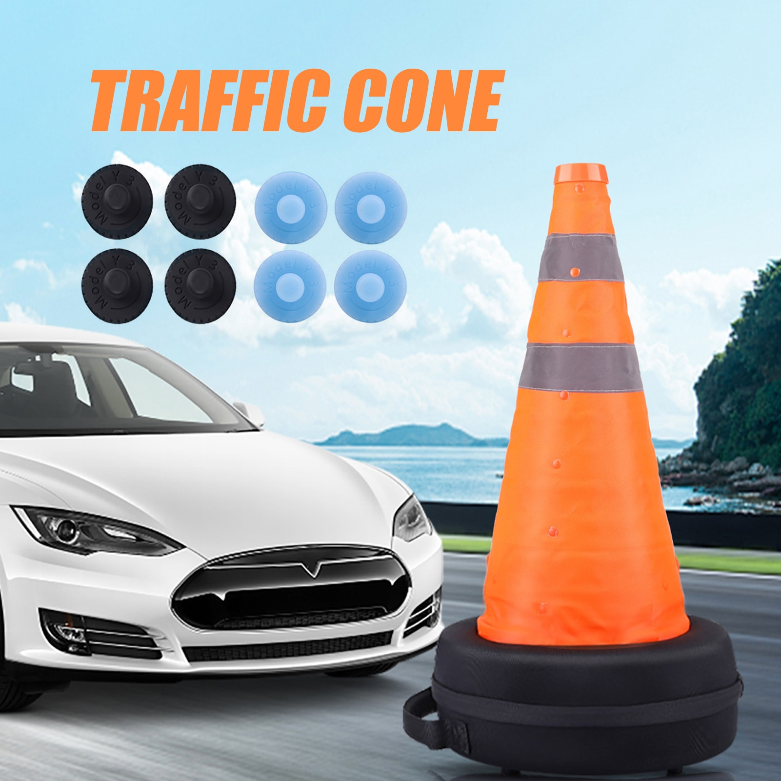 Collapsible Foldable Traffic Cones Too Kit Parking Barriers Car Safety Warning Cone Ice Cream Cone Reflective Road Cones Benefit