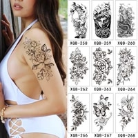 flower rose temporary tattoos for women waterproof fake body art arm sketch tattoo stickers shoulder arm leaf tatto for adults