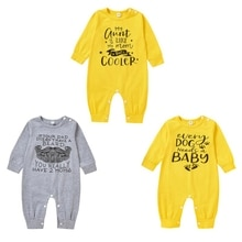 Autumn Infant Baby Bodysuit Girls Boys Long Sleeve Letters Print Pattern Rompers Jumpsuit Kids Outfi