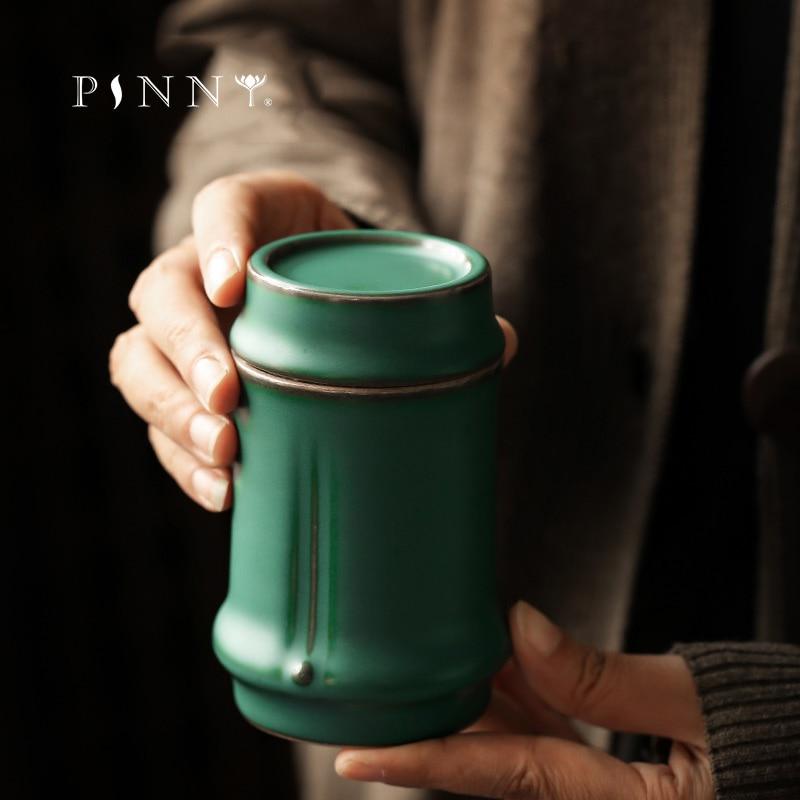 PINNY-برطمان شاي من الخيزران ، وعاء شاي خزفي على الطراز الياباني ، حاوية تخزين ريترو مختومة