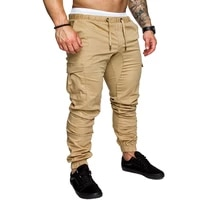 spring 2021 new mens pants solid color casual small foot loose sport nine division of trousers male elastic slacks