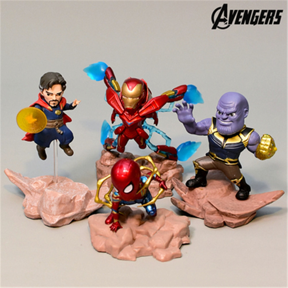 Marvel Avengers 4 Iron Man Thanos Spider Man 7-12cm Action Figure Anime Decoration Collection Toy model for children gift