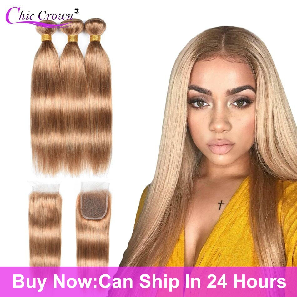 Color 27 Bundles With Closure Honey Blonde Bundles With Closure Brazilian Hair Weave Straight Human Hair 3 Cheap Bundles