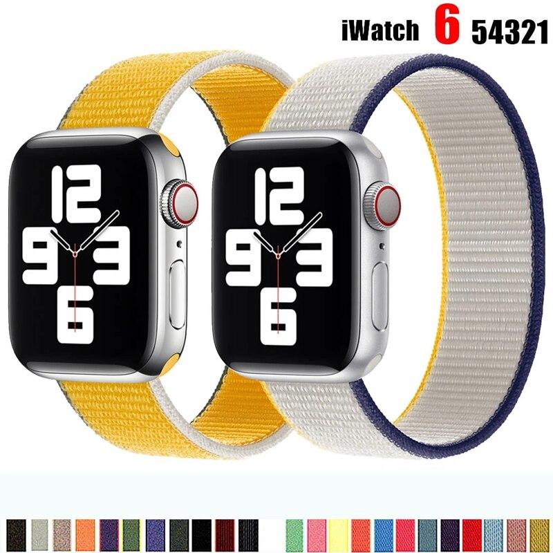 Ремешок нейлоновый спортивный для apple watch, браслет для смарт-часов Apple watch Series SE 6 5 4 3 2 1 44 мм 40 мм 42 мм 38 мм ремешок для смарт часов eva ava001 для apple watch 38 мм розовый