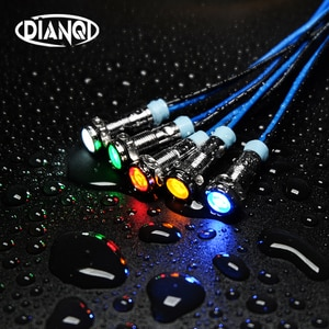 1PC 6mm LED Metal Indicator light 6mm waterproof Signal lamp 6V 12V 24V 220v with wire red yellow blue green white 6ZSD.X
