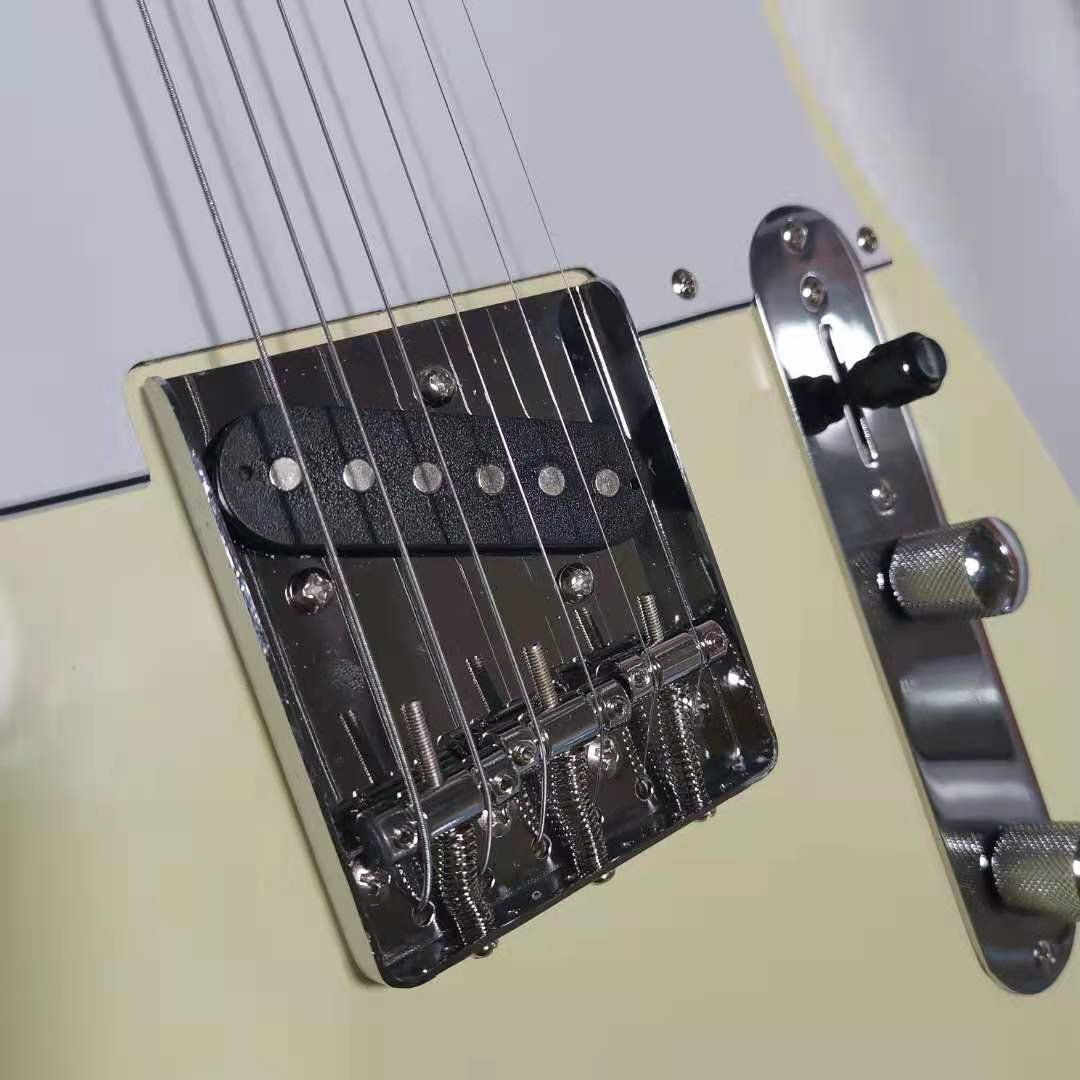 Tele Electric Guitar Cream Yellow Color Basswood Guitar Body Maple Fingerboard Silver Hardware High Quality Free Shipping enlarge