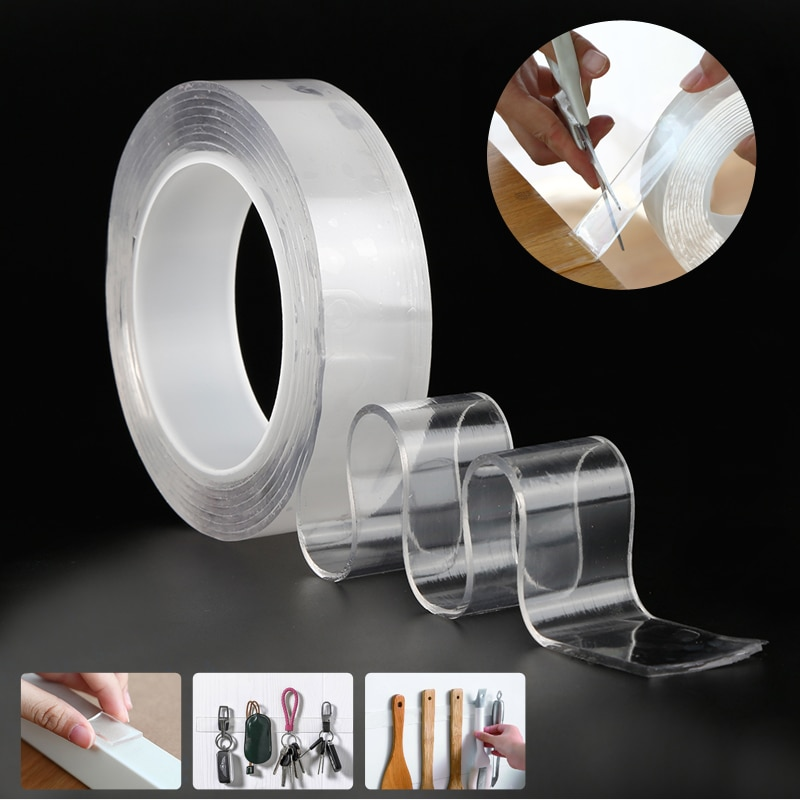 Lavável reutilizável dupla face fita transparente magia nano fita adesiva nano-nenhum traço colar removível limpo agregado familiar