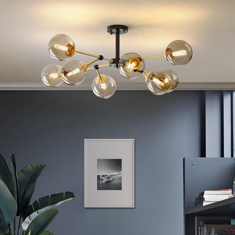 Led كرة زجاجية داخلي المنزل قلادة مصباح إضاءة داخلية استوديو تعليق تركيبات إضاءة غرفة نوم معلقة مصباح مطعم