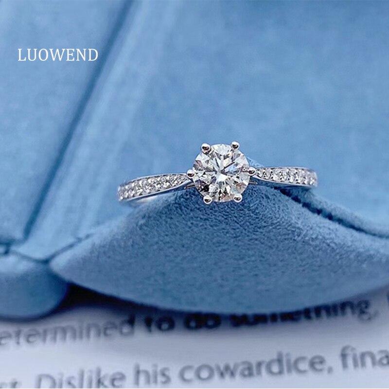 LUOWEND 100% ريال 18K الذهب الأبيض (AU750) خاتم الخطوبة 6 مخالب خاتم الماس الطبيعي للاقتراح هدية للذكرى السنوية
