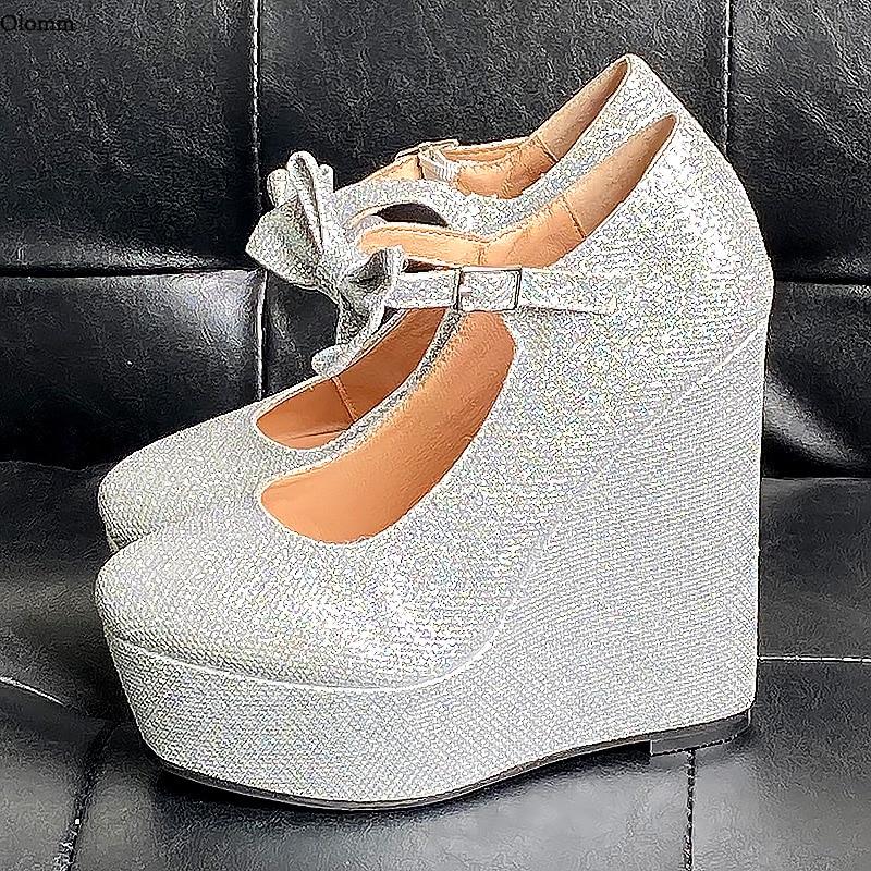 Saltos de Dedo do pé Dama de Honra Olomm Artesanal Bombas Glitter Cunhas Redondo Lindo Prata Casamento Club Wear Sapatos Feminino Eua Tamanho 5-20