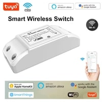 Tuya bricolage intelligent sans fil Wifi commutateur controleur de lumiere Module 10A relais intelligent commutateur a distance Support pour Alexa Google Home Homekit