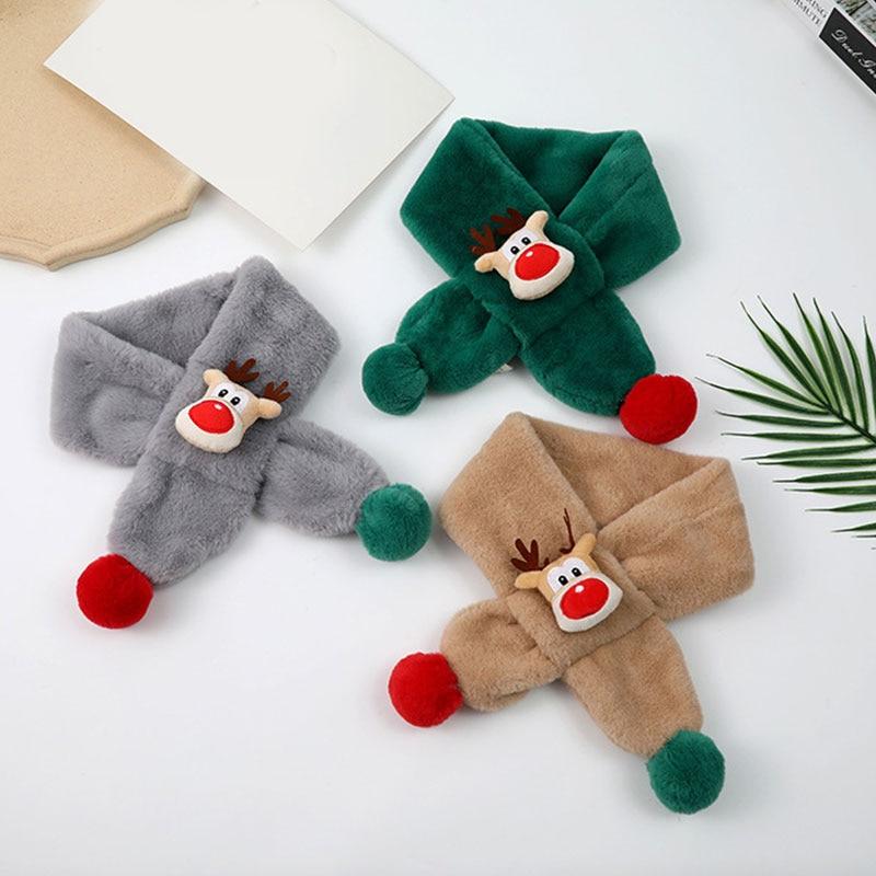 Christmas Style Cross Scarf Winter Warm Fluffy Plush Thick Fleece Cute Cartoon Animal Toddler Girls Boys Neck Warmer Xmas Gift
