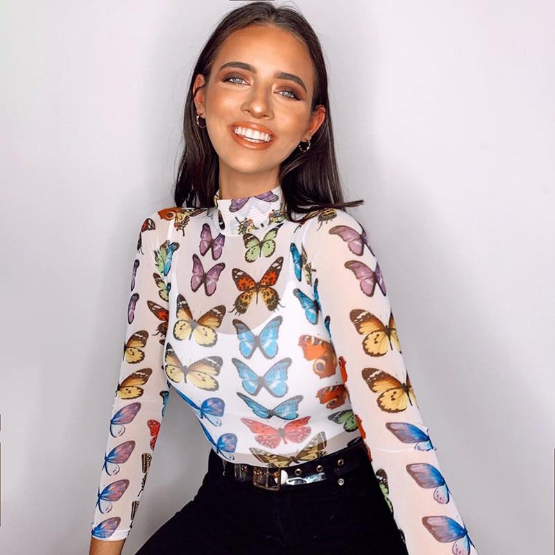 2020 mujeres sexy estampado mariposa ropa de verano moda colorida mujer verano camiseta drop shipping YS49
