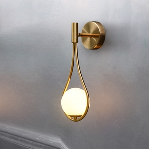 Modern Wall Lamp Glass Lampshade Bedside lamp Brass Metal Bedroom sconce home Deco Light Reading Stairs Corridor Lighting