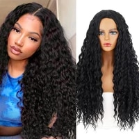 black womens synthetic wigs african perverted curly wigs long deep wave wigs 28inch high temperature cosplay wig party