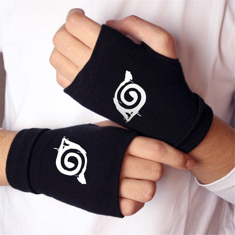 Anime NARUTO Sharingan Uchiha Itachi Cosplay atrezo guantes de algodón cálido negro manopla de mitad de dedo Niños Accesorios para adultos