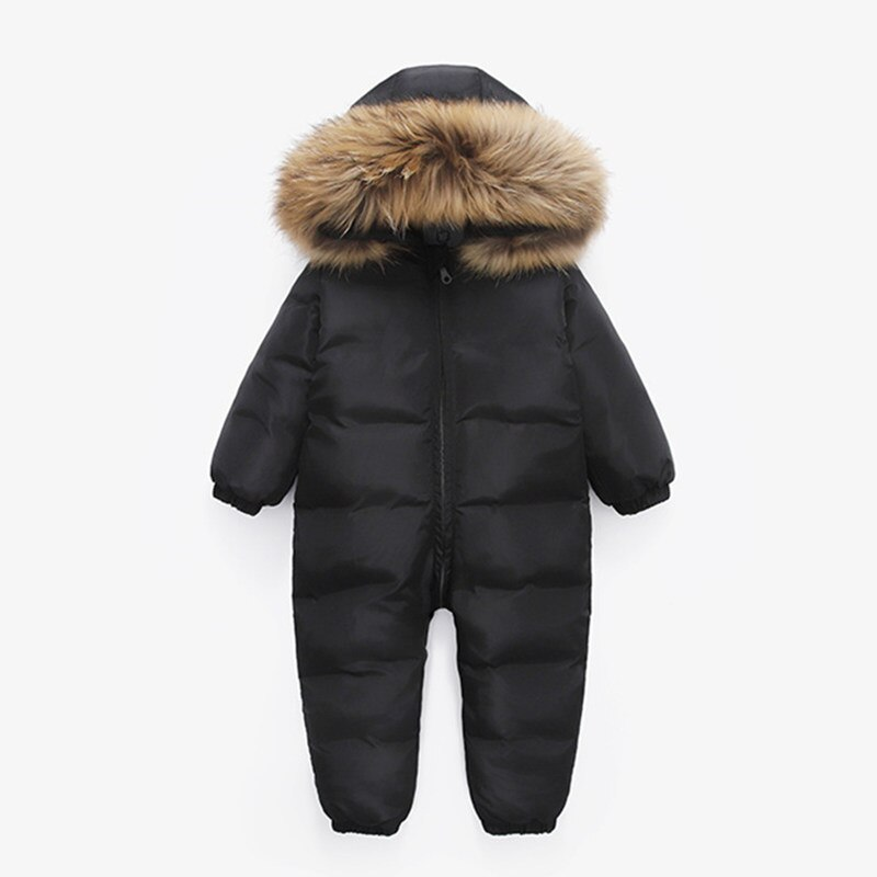 2018 new kids baby girl boy 2 4y outwear fur hooded coat ski snow suit jacket bib pants overalls 30 degree down clothes Russian new jumpsuit kids winter wear baby boy snowsuit Parka nature fur 90% duck down jacket for girl clothes coat overalls