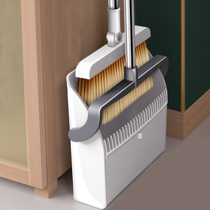 Home Windproof Broom & Dustpan Set Stainless Upright Extendable Broomstick Floor Cleaning Brush Soft Comb Teeth enlarge