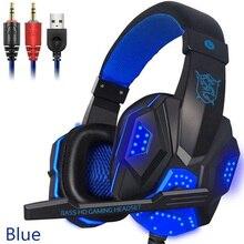 Cascos con Cable para jugar, auriculares con micrófono para jugadores LED, Control de volumen, auriculares estéreo con Cable de Audio para PC PS4