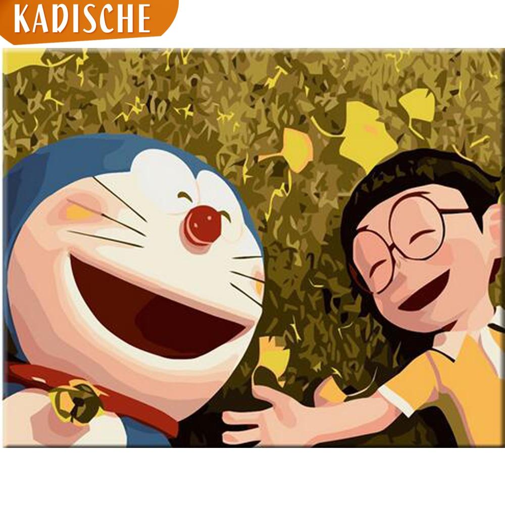 Kadische pintura por números cenário diy coloração a óleo por números doraemon pintura em tela fotos da arte decoração casa