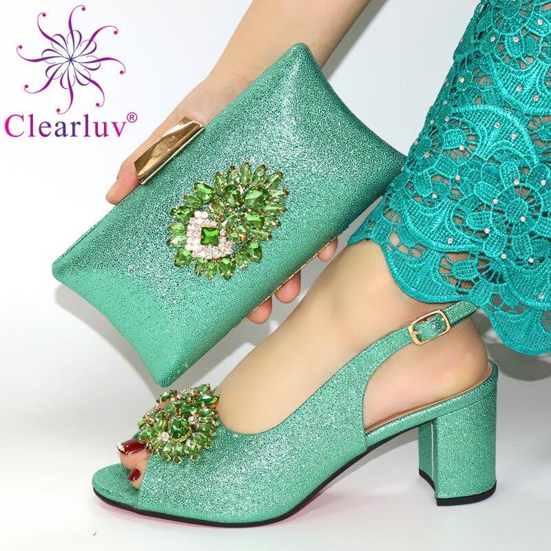 Los últimos zapatos de boda de té, zapatos italianos para dama de honor con bolsos a juego, el último diseño, conjunto de zapatos y bolsos italianos