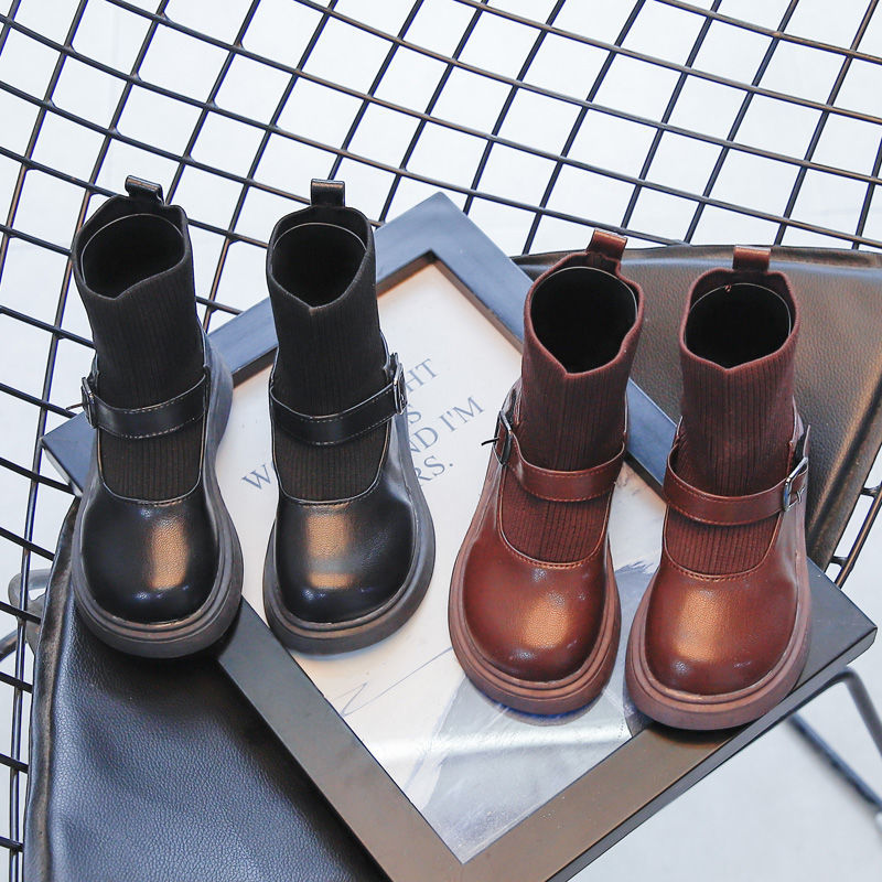 Summer Metal Buckle Short Boots Socks Boots Spring Autumn Children Fashion Shoes Baby Girl Boots Pri