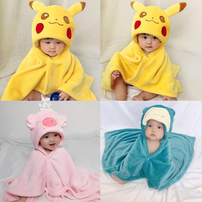 Pikachu Cute Shaped New Born Baby Towel Baby Hooded Bathrobe Soft Infant Blanket Bath Towel Baby Toalla baby Towels