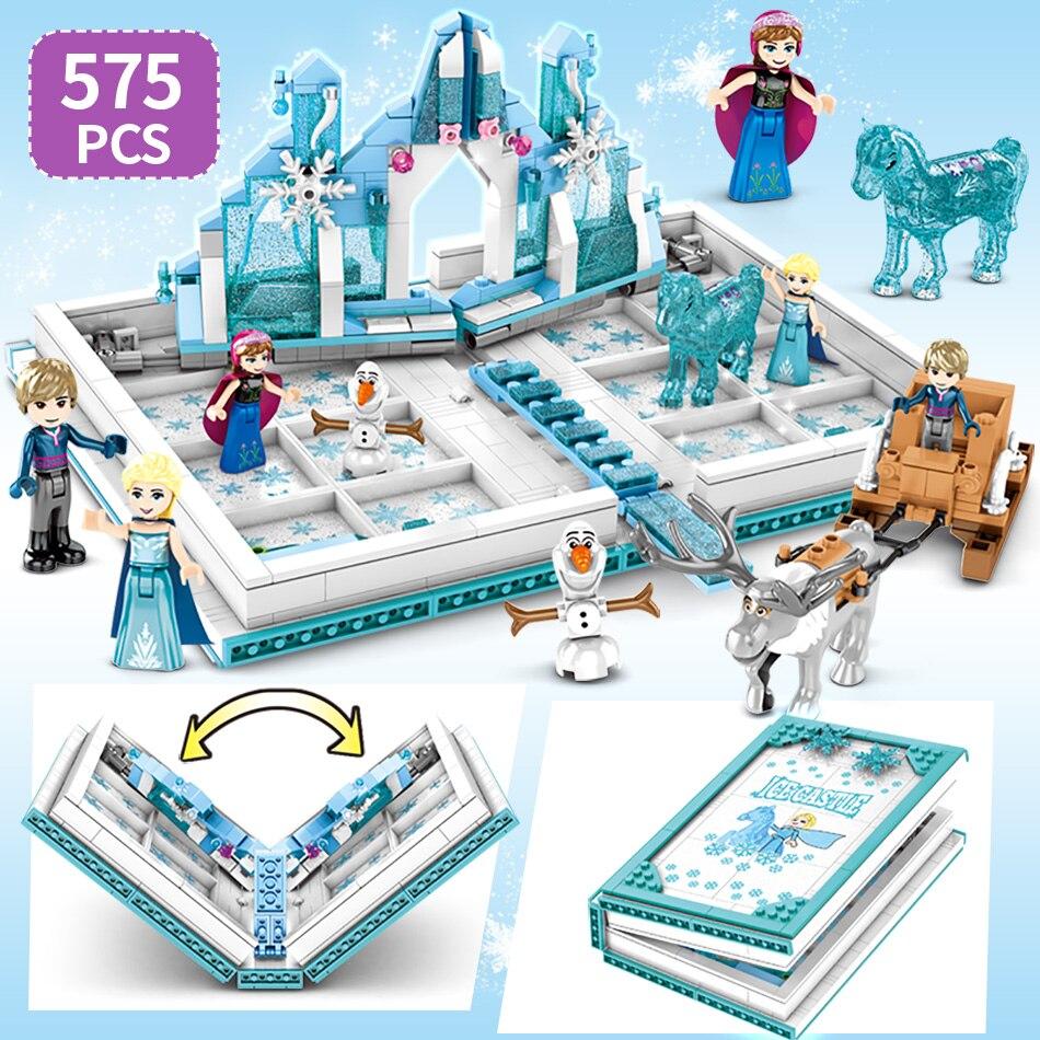 Neve rainha livro mágico blocos de construção brinquedos palácio castelo de gelo princesa elsa anna figuras tijolos educação brinquedos para meninas