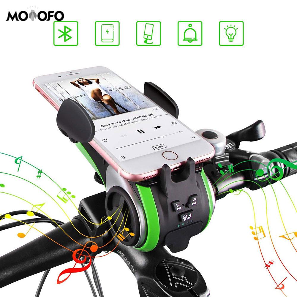 Altavoces Bluetooth para bicicleta, luz para bicicleta, campana para bicicleta, Banco de energía, soporte para teléfono móvil para bicicleta, altavoz al aire libre impermeable para llamadas con manos libres
