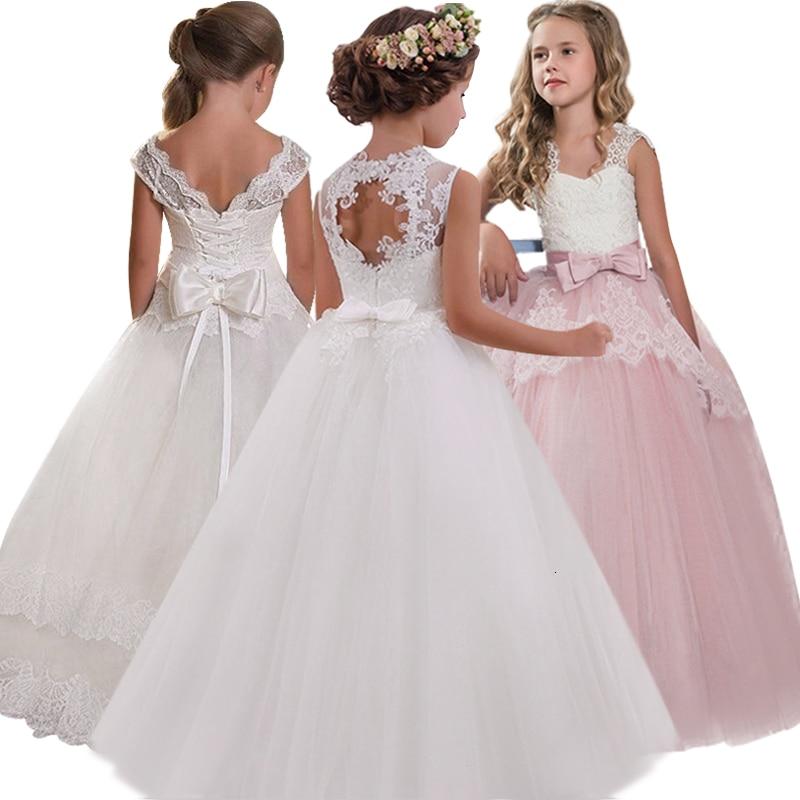 New 2019 GirlsBack Hollow Flower Dress Boy High-end Wedding Elegant Girls Flower-lace Banquet