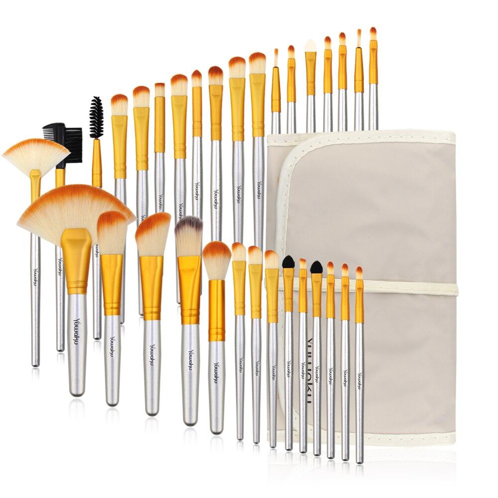 Vander professionnel 32 pièces pinceaux de maquillage ensemble beauté outils cosmétiques Champagne lèvre fard à paupières Blush mélange pinceaux de maquillage avec sac