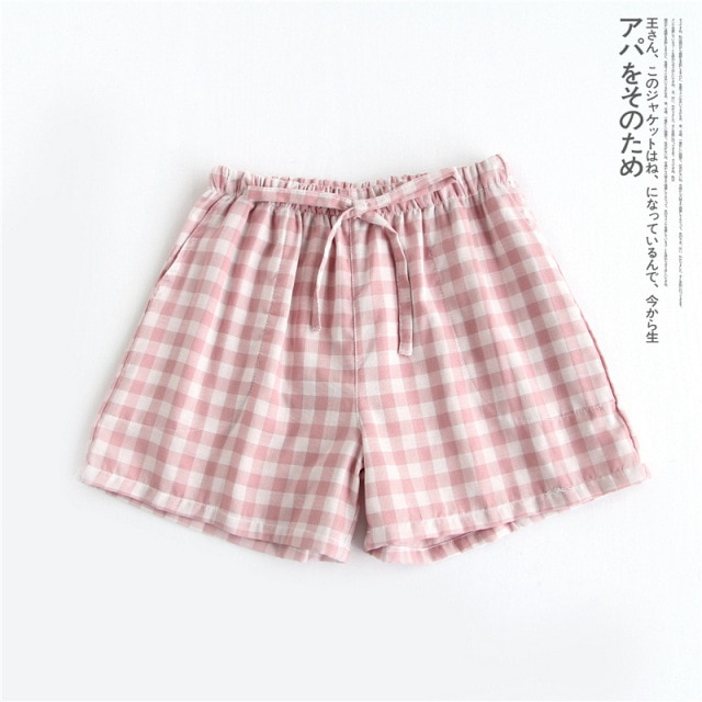 Парные пижамы, летние хлопковые газовые шорты в японском стиле, простая эластичная резинка на талии, повседневные, большие размеры, мужские и женские домашние штаны в клетку|Женская одежда|| | АлиЭкспресс