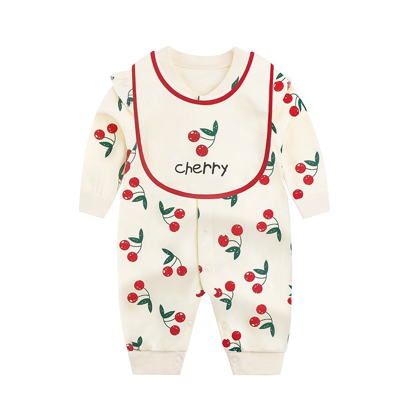 Baby jumpsuit spring and autumn newborn baby girl long sleeve cotton cherry