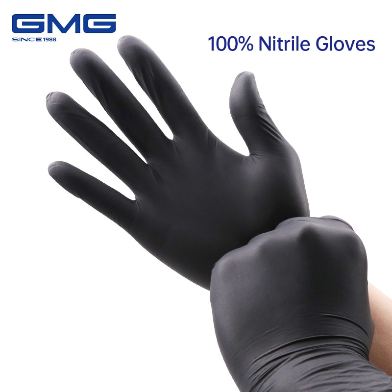 Nitrile Gloves Black 100pcs Food Grade Waterproof Allergy Free Disposable Work Safety Gloves 100% Nitrile Gloves Mechanic Glove
