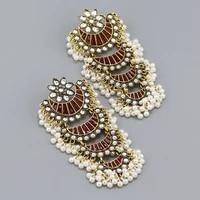 luxury multilayers moon drop dangle earrings for women bridal flower crystal pearl beads piercing earrring indian jewelry gift