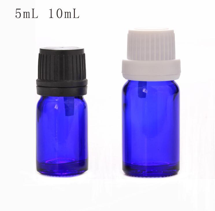 مخفض فتحة زجاجة الزيت العطري ، 5 مللي ، 10 مللي ، قوارير زجاجية بغطاء ، زجاجة زيت زجاجية زرقاء ، SN114