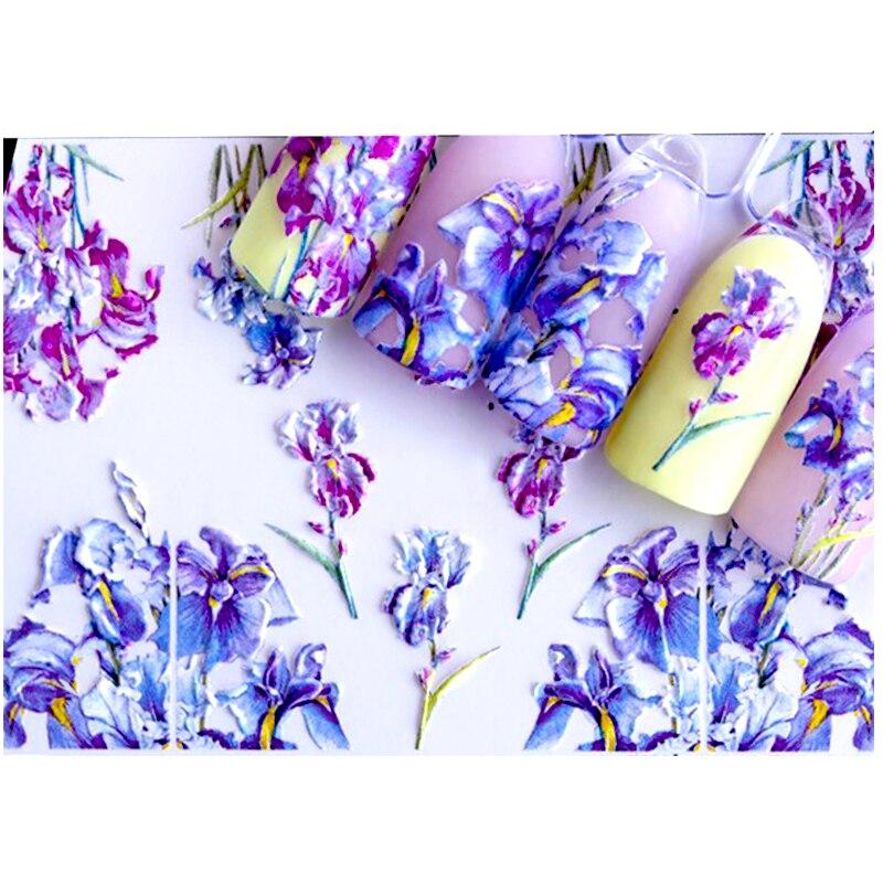 3D acrílico grabado uña pegatina colorido mezclar la Forma flores agua calcomanías empaista uñas agua Slide calcomanías Z0234