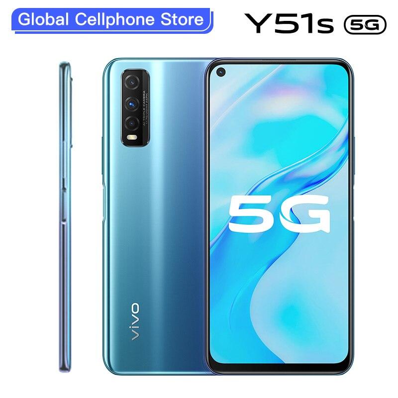 Vivo оригинальный Y51s 5G мобильный телефон Exynos 880 8 ГБ 128 4500 мА/ч, Батарея 18 Вт 48.0MP тройные камеры Android сотовый телефон