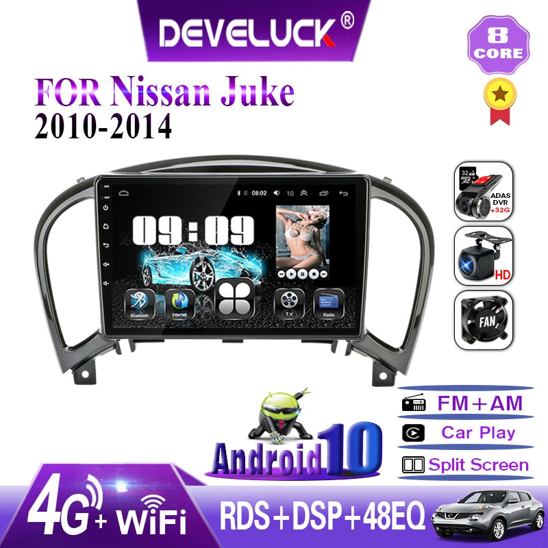 4GB+64GB Android 9.0 Car Radio For Nissan Juke YF15 2010-2014 2din Touch Screen GPS Navigation Multimedia Player RDS DSP 4G net недорого