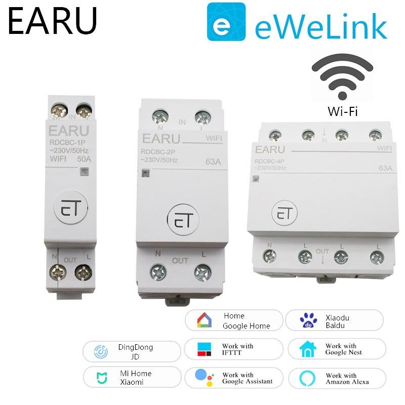 WiFi قاطع الدائرة 1P 2P 4P الوقت الموقت التبديل التتابع المنزل الذكي التحكم عن بعد التحكم الصوتي لأمازون أليكسا جوجل المنزل