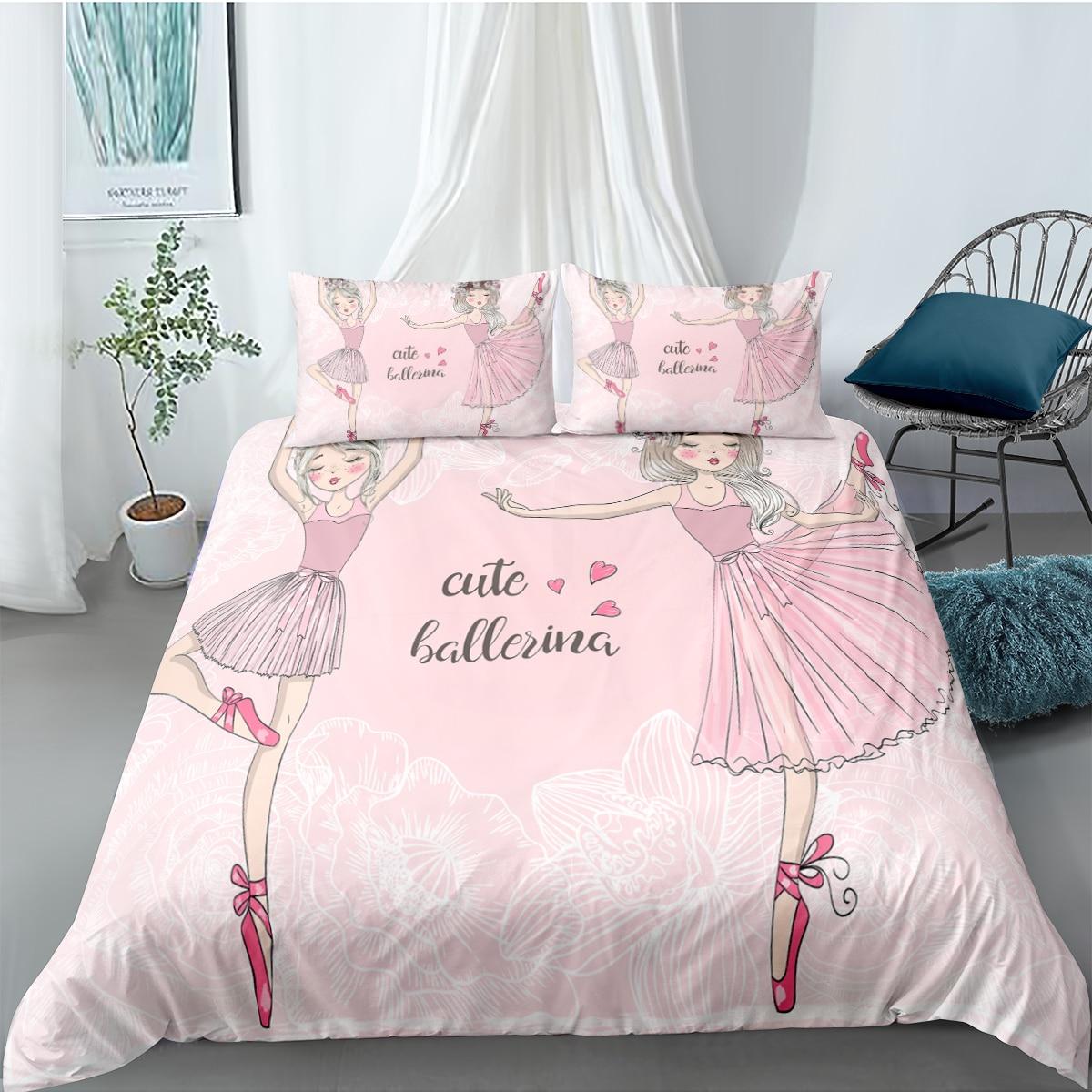 غطاء لحاف فتاة راقصة الباليه ، طقم سرير وردي ، مفرش سرير أميرة ، منسوجات منزلية ، 135