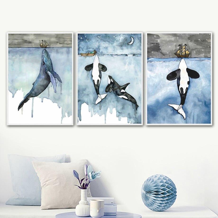 Aquarela dos desenhos animados azul baleia tubarão barco arte da parede pintura da lona nordic posters e cópias parede imagens para sala de estar decoração