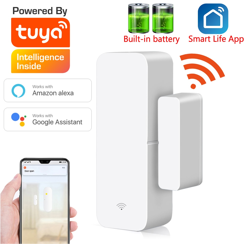 Tuya Smart  WiFi Door Sensor Door Open / Closed Detectors Compatible With Alexa Google Home  Smar tLife APP Free Customised LOGO