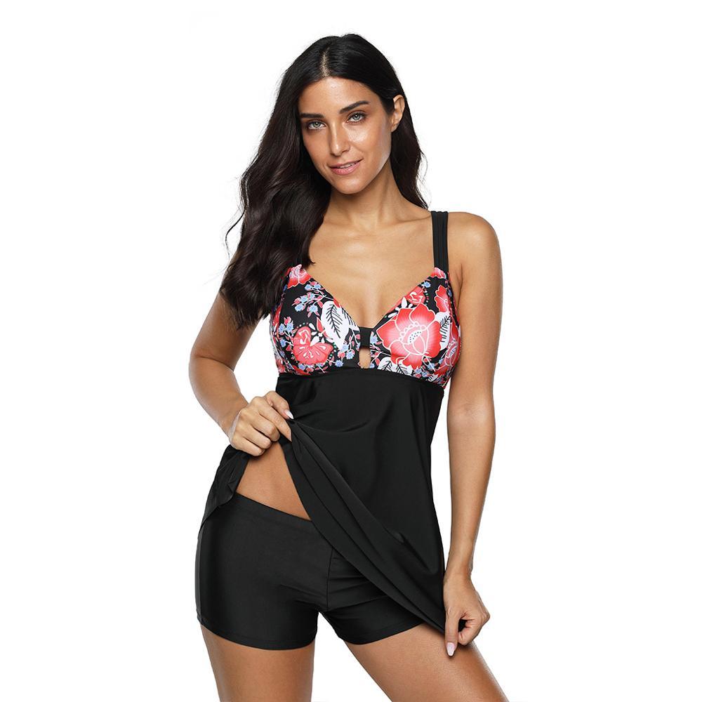 Bañador Floral de talla grande para mujer, traje de baño Floral de dos piezas, 3XL, 4XL, ropa de baño Sexy, Bikini de mujer grande