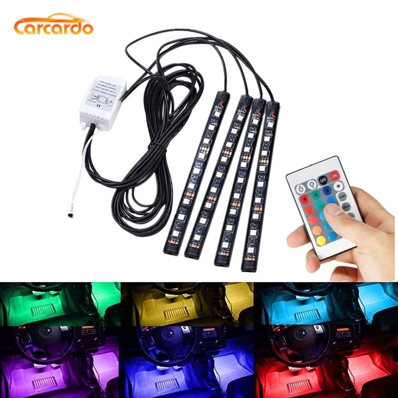 Carcardo Car LED Atmosphere Neon Light Lamp LED Wireless Remote Multi Color RGB Strip Car Interior Lighter