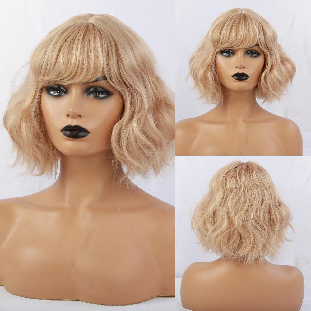 EMMOR alta calidad uso diario Cosplay partido peluca larga Natural ondulado marrón Ombre a rubia pelucas de pelo sintético para las mujeres