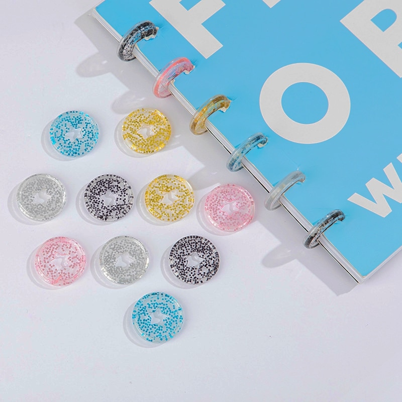 50/100 Pcs Sequins Star Disc Binder for Notebooks 26mm Diy Planner Discs Loose Leaf Mushroom Binder for Scrapbooking A20-S6