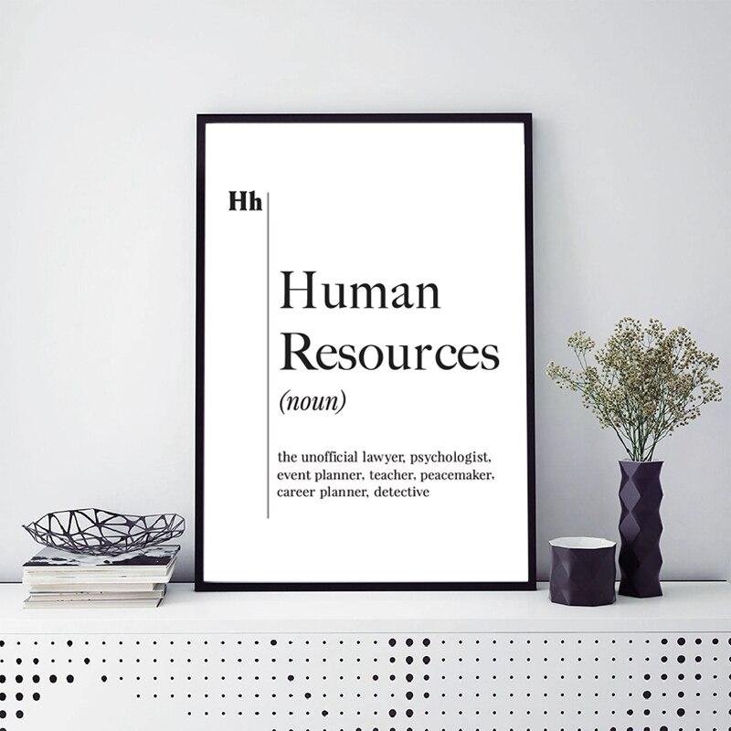 Los recursos humanos definición imprimir HR Oficina Decoración reclutador de nuevo trabajo regalo lienzo pintura cartel pared arte escandinavo