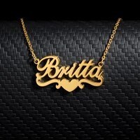 custom name necklaces bijoux femme personalized stainless steel jewelry accessories custom name with heart necklaces pendents
